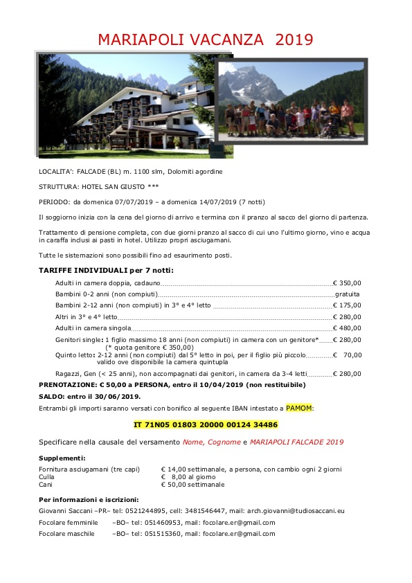 Vacanze Falcade estate 2019 con foto